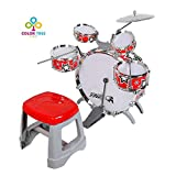 COLOR TREE Kids Jazz Drum Set Kit – 5 Drums, Cymbal, Kick Pedal, 2 Drumsticks, Stool – Little Rockstar Kit to Stimulating Children's Creativity, - Ideal Gift Toy for Kids, Boys & Girls (Red-Jazz)