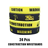 Cleverplay 24 Pack Construction Zone Silicone Wristbands Bracelets ,Birthday Party Favors for Kids ,Goody Bag Supplies Gifts for Boys and Girls.