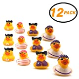 Srenta 2' Assorted Styles Girl Pirate Rubber Duck, Fun Decorations for Great Party Flavors, Children Play Toy, Pack of 12