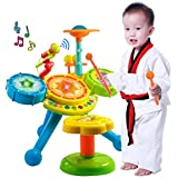 Liberty Imports Spanish & English Bilingual Kids Electronic Rock Band Musical Big Drum Set Toy with Microphone and Chair