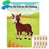 Pin The Tail On The Donkey Party Game Large Donkey Games Poster for Kids Birthday Party Carnival Party Supplies