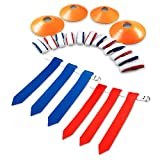 14 Player Flag Football Flags, 3 Heavy Duty Flags per Belt, 12 Cones & Bag