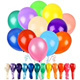 RUBFAC 120 Balloons Assorted Color 12 Inches 12 Kinds of Rainbow Latex Balloons, Multicolor Bright Balloons for Party Decoration, Birthday Party Supplies or Arch Decoration