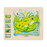 Wooden 5 Layers Life Cycle of a Frog Montessori Puzzle for Kids Age 3 4 5 6, Toddler Jigsaw Puzzles with Wooden Tray, Children Learning Preschool Educational Puzzles Toys for Boys and Girls