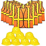 Tigerdoe Kids Party Dress Up - 8 Hats with 8 Vests- Construction Party - Birthday Favors