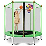 Lovely Snail 5FT Trampoline for Kids with Safety Enclosure Net Basketball Hoop, Mini Trampoline 60' for Outdoor Indoor Family Backyard School Entertainment, Age 3-10