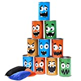 iBaseToy Carnival Games Bean Bag Toss Game for Kids & Adults - Carnival Party Supplies Easter Games Tin Can Alley Game for Kids Birthday Party Games- 10 Tin Cans and 3 Beanbags Included
