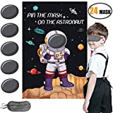 Space Themed Game Party Supplies,Solar System Out Space Planet Birthday Party Supplies Decorations for Kids Pin the Mask on the Astronaut Game