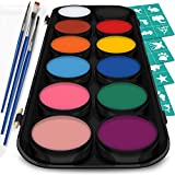 Crafts & Colors Face and Body Paint Kit – Set of 12 Classic Colours with Flat and Detail Painting Brushes – Comes w/ 30 Design Stencils – Non Toxic, Water Based and FDA Compliant