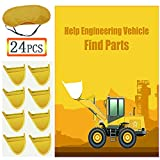 Construction Party Game for Kids - Help Engineering Vehicle Find Parts Birthday Party Favor Games - Include Large Construction Games Poster 24 Parts Stickers and Blindfold