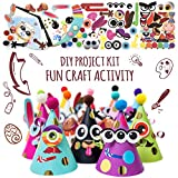 Party Hats Making Activity Kit of 12 c/w Pompom & Stickers. Group Activities, DIY Art Craft Home Project. Animal & Monster Theme Birthday, Christmas, Easter & Fiesta Decoration for Kid. Game Supply