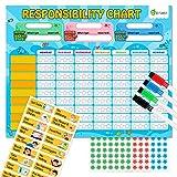 D-FantiX磁性责任表,多个孩子的杂务图,幼儿的我的明星奖励表,鼓励责任和良好行为图表家庭用益智玩具