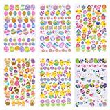 Naler Easter Stickers Sheet Assorted Easter Bunny Stickers for Easter Party Favor Kids DIY Craft Art Making Decoration, 6-Pack