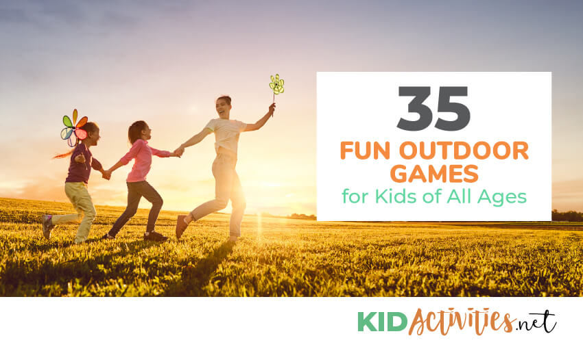 A parent running with a kid holding their hand and another kid holding the other childs hand. The sun is setting and they are in an open field. The text reads 35 fun outdoor games for kids of all ages.