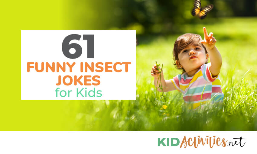 An image of a young child sitting in grass pointing at a flying butterfly. Text reads 61 funny insect jokes for kids.