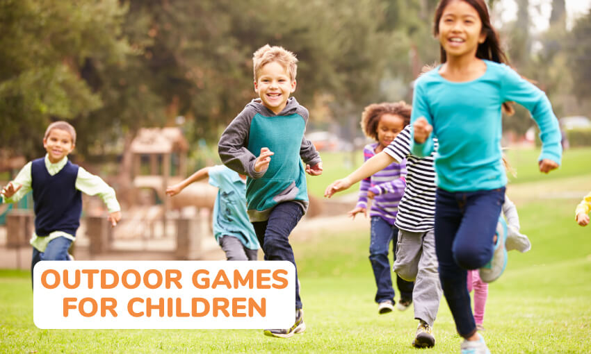 7 kids running in the grass with a playground in the background. Text reads outdoor games for children.