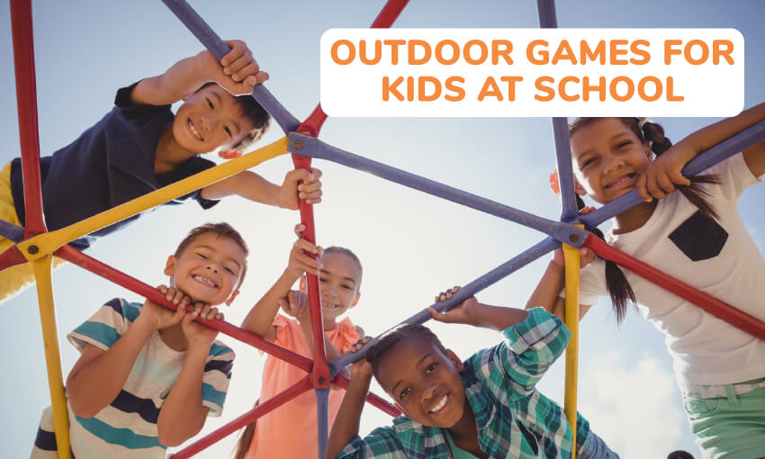 5 kids on a jungle gym looking down at the camera. Text reads outdoor games for kids at school.