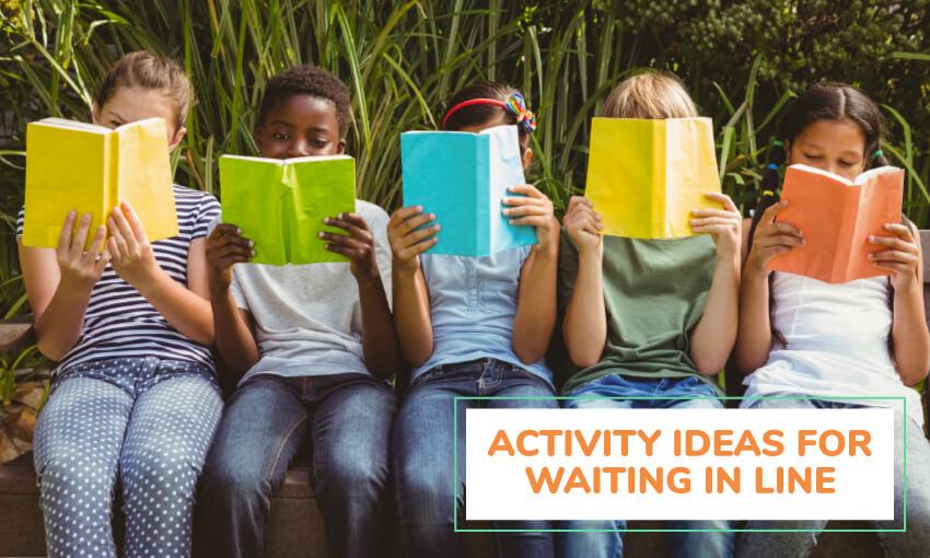 An image of 5 kids sitting on a bench each reading colorful books. Text reads activity ideas for waiting in line.