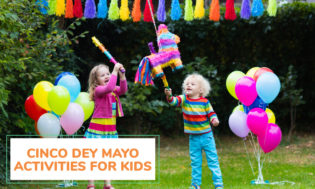 Two kids trying to hit a piñata with colorful balloons in the background. Text reads Cinco De Mayo activities for kids.