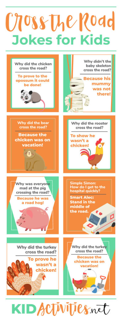 A Pinterest image with 8 different jokes and animations on it. The jokes can be found in the post. The heading text reads Cross the road jokes for kids.