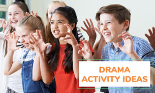 A picture of kids acting, with their hands up. Perhaps acting like a bear. Text reads drama activity ideas.