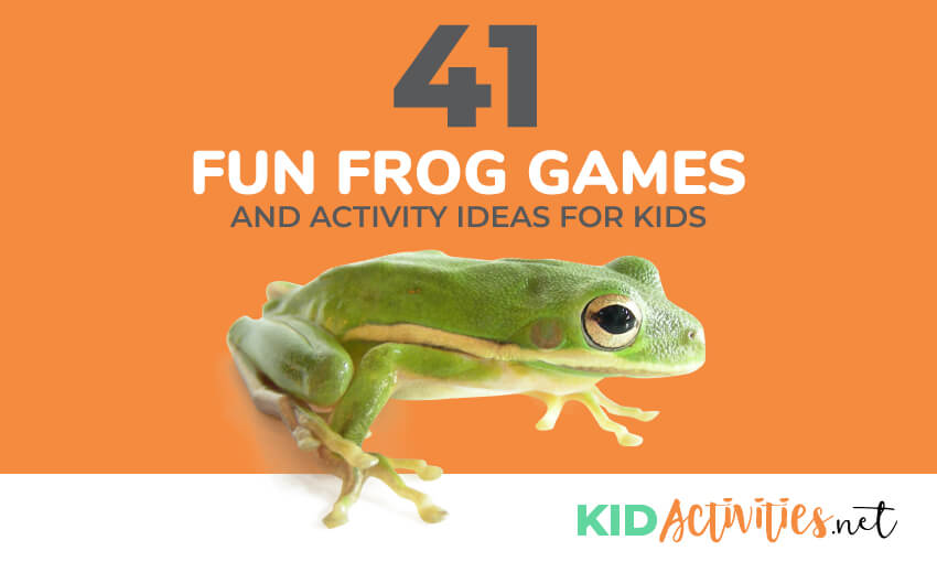 An image of a green frog with an orange background. Text reads 41 fun frog games and activities for kids.
