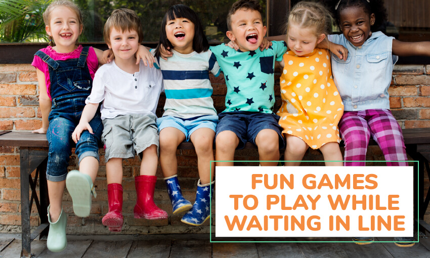 An image of 6 kids sitting on a bench with arms around each other. Text reads fun games to play while waiting in line.
