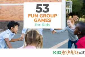 Several kids holding hand forming a circle playing a game. Text reads 53 fun group games for kids.