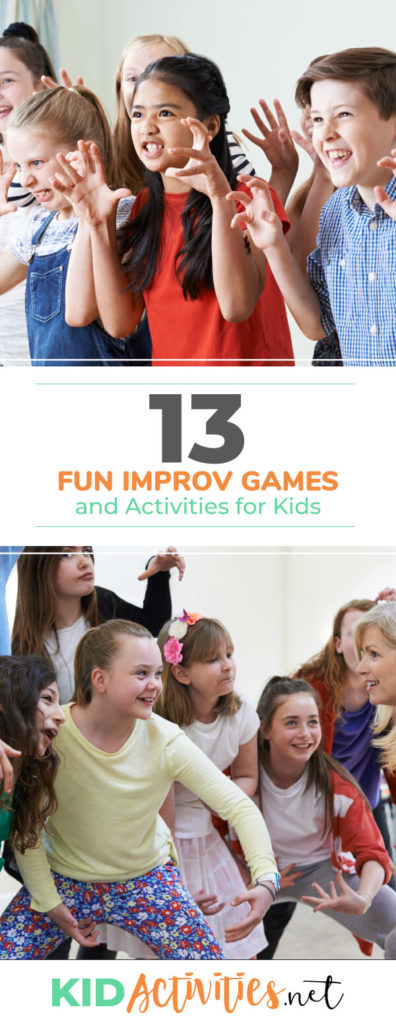 Two images, one of about 6 kids acting like a bear, putting their hands up to their face like claws. A second photo shows 6 kids directing kids how to act and they appear to acting like a gorilla. Text reads 13 fun improv games and activities for kids.