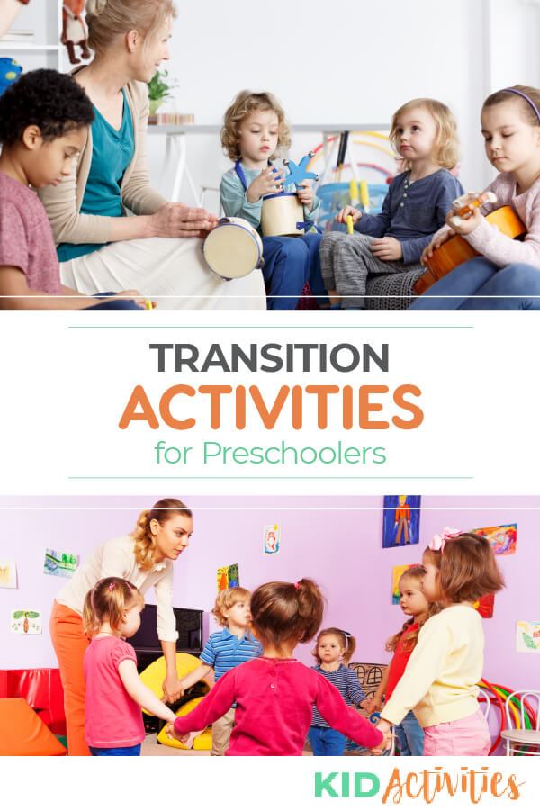 A Pinterest image of two pictures. One of a teacher with several young students playing musical instruments. Another picture of several young students holding hands in a circle with the teacher. The text reads transition activities for preschoolers.