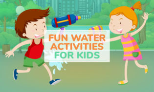 An animated picture of a boy and girl having a water gun fight with text saying fun water activiteis for kids.