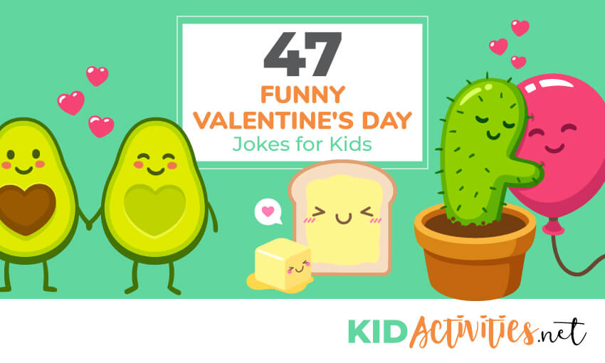 A collection of 47 Valentine's Day jokes for kids. Great for the classroom or other Valentine's Day events.