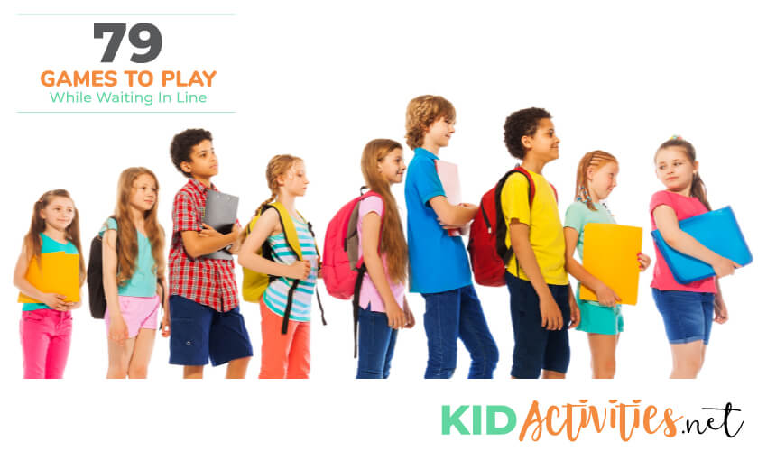 Nine kids in a single file line with a white background. Text reads 79 games to play while waiting in line.