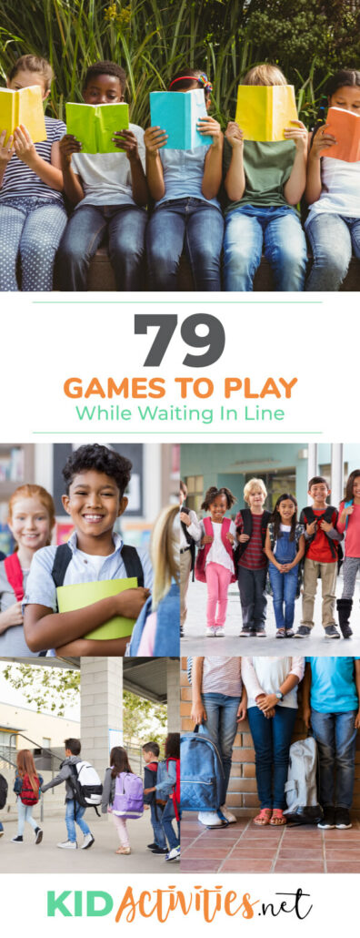 A collage of different images showing kids in various lines. Text reads 79 fun games to play while waiting in line.