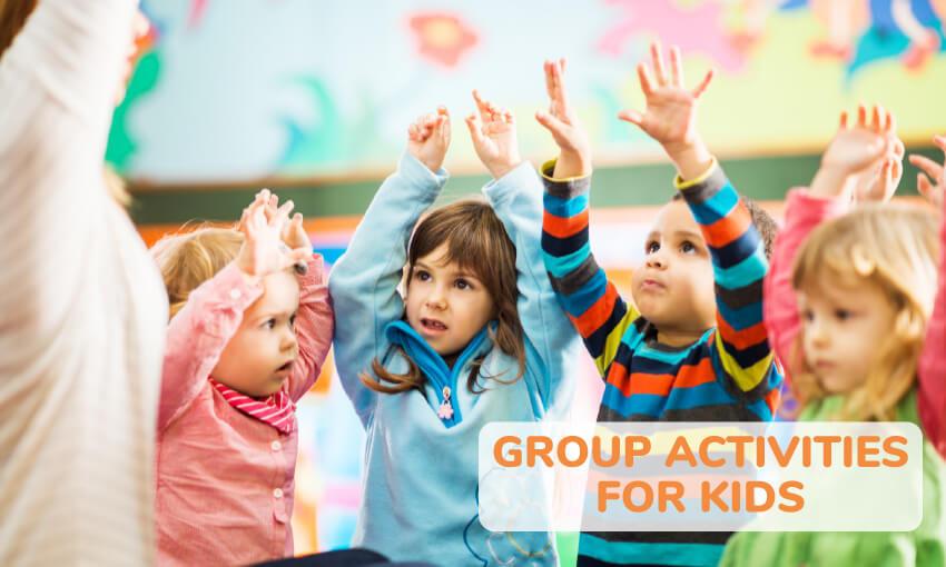 Kids sitting in a circle with their hands up with text that reads group activities for kids.