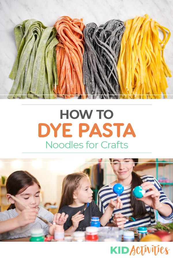 How to dye pasta noodles for crafts.