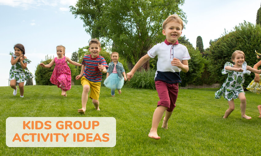 A group of about 7 young kids running in the yard. Text reads kids group activity ideas.
