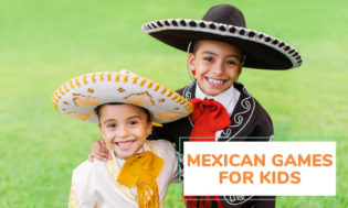 Two young boys dressed up in Mexican bull fighting attire. Text reads Mexican games for kids.