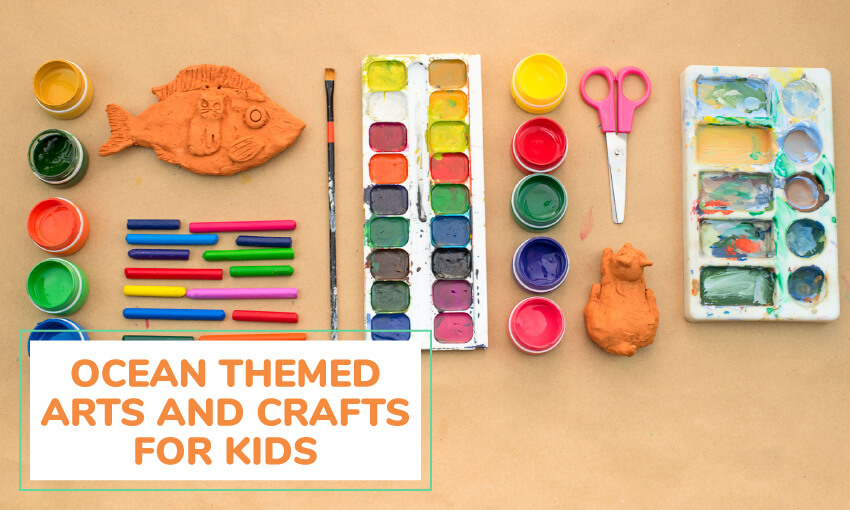 A collection of ocean themed arts and crafts for kids.