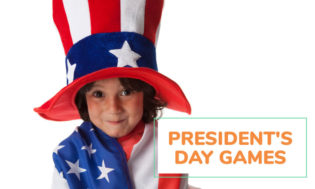 A picture of a young boy dressed in American flag shirt and American flag top hat. Tex reads President's Day games for kids.