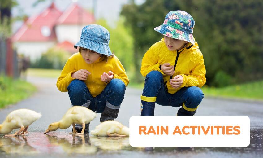 一系列有趣的儿童雨活动。