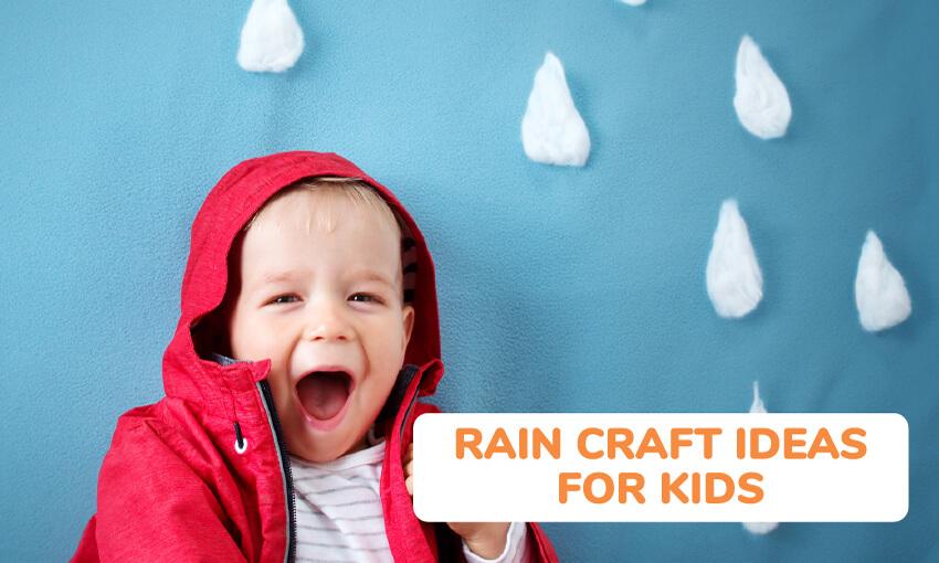 雨工艺的想法,为孩子们的集合。
