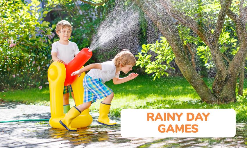 一组有趣的儿童下雨天亲子游戏。