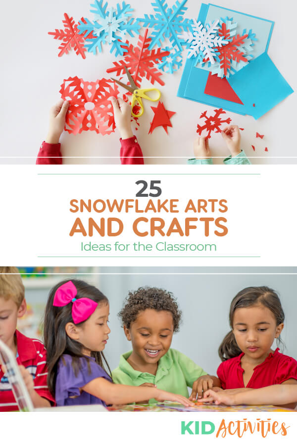 A collection of snowflake arts and crafts for kids int he classroom.