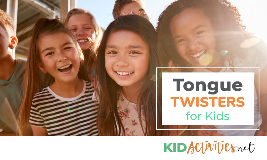 An image of six kids huddled in front of the camera with text that reads tongue twisters for kids.