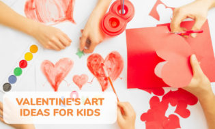 A picture of various heart art and crafts. Some hearts being cut from red construction paper, others being painted. Several small hands are shown creating the art. Text reads Valentine's art ideas for kids.