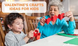 A picture of a grandma and a kid holding a heart paper craft. Text reads Valentine's Day craft ideas for kids.