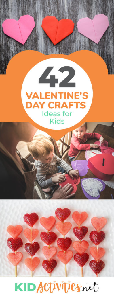 A picture of different valentines day crafts. One of folded construction paper hearts. Another of kids assembling some heart crafts. Another picture of heart shaped strawberries on a toothpick. Text reads 42 Valentine's Day arts and crafts ideas for kids.
