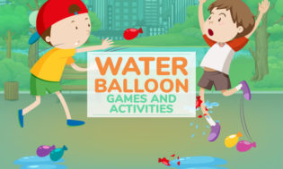An animated picture of kids throwing water balloons at each other. With text saying water balloon games and activities.