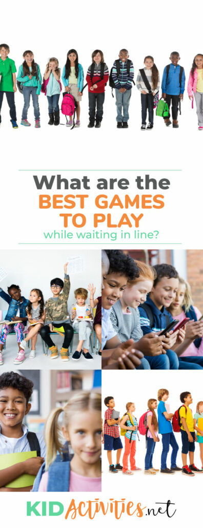 A collage of images showing kids in different types of lines. The text reads What are the best games to play while waiting in line?